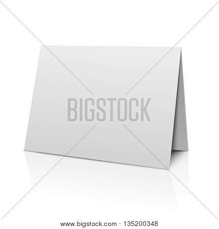 Blank folder paper card isolated on white. Template paper sheet for calendar. Blank paper card, mockup booklet bended banner. Vector illustration