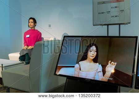 TOKYO JAPAN - NOVEMBER 27 2015: Otonaroid or adult android created after a real human being displayed in a hall of Miraikan The National Museum of Emerging Science and Innovation in Odaiba area