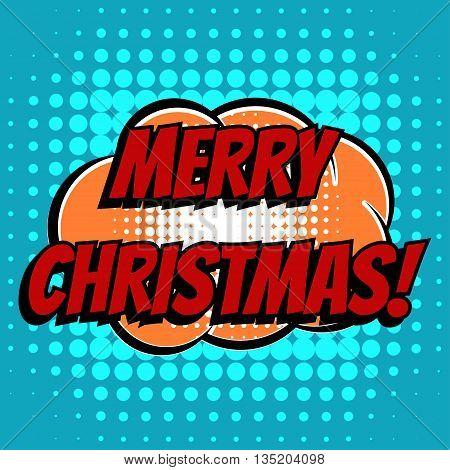 Merry christmas comic book bubble text retro style