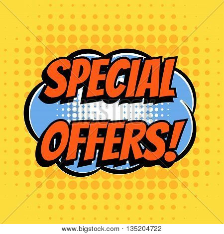 Special offer comic book bubble text retro style