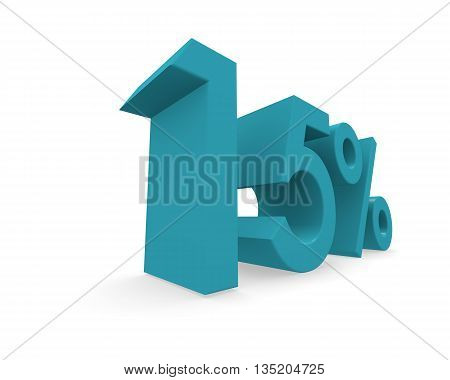 Fifteen percent in turquoise on a white background 3d rendering