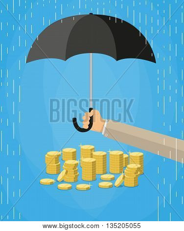 Hand holding umbrella under rain to protect money. money protection, financial savings concpet. vector illustration in flat style on blue background