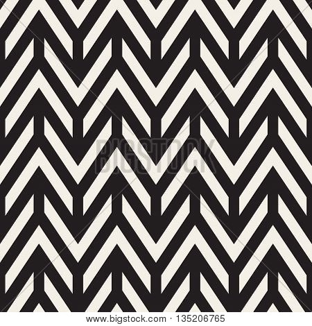 Vector Seamless Black And White Chevron ZigZag Horizontal Lines Geometric Pattern. Abstract Geometric Background Design