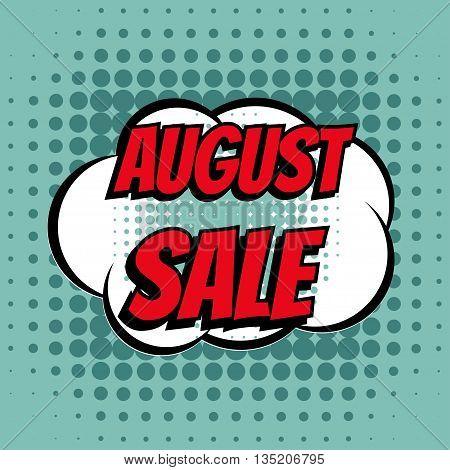 August sale comic book bubble text retro style