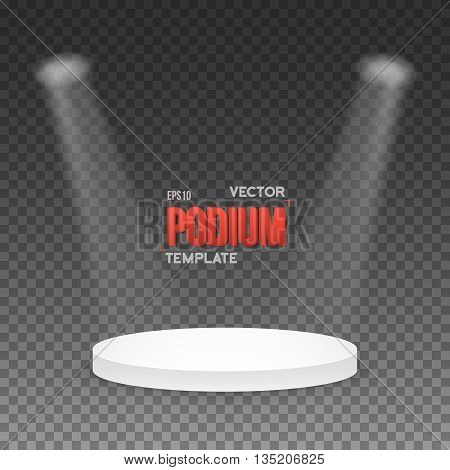 Illustration of Illustration of Photorealistic Winner Podium Stage with Stage Lights Isolated on Transparent Overlay Background. Used for Product Placement, Presentations, Contests