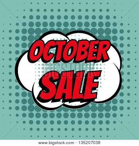 October sale comic book bubble text retro style
