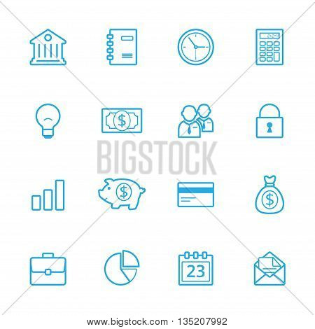 Business blue line icons set of 16