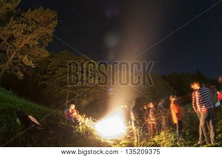 Fisheye view of a campfire. Motion blur
