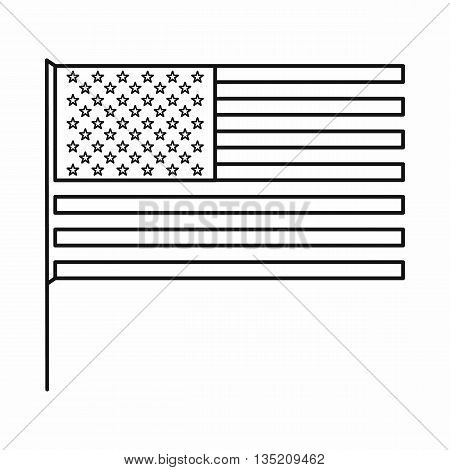American flag icon in outline style isolated on white background