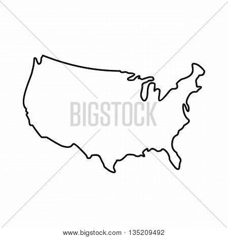 USA map icon in outline style isolated on white background