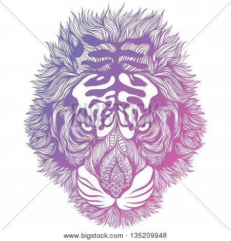Hand Drawn Psychedelic Abstract Tiger Head. Vector Illustration