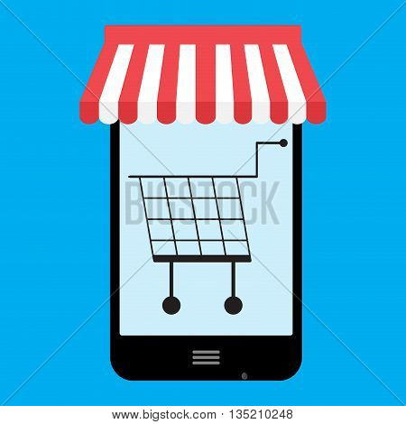 Shop store online mobile vector. Mobile shopping and online store online shopping icon and illustration of shopping cart