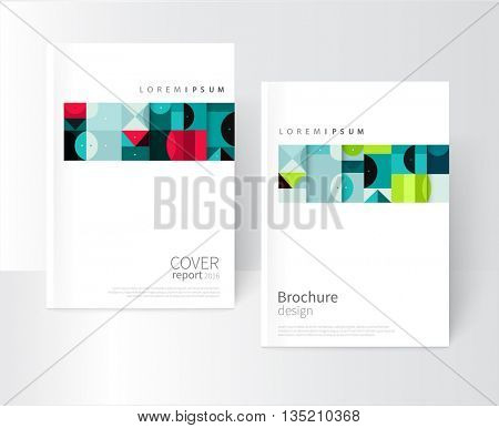 design creative concept cover for book, catalog, report, brochure. Blue, red and green abstract geometric shapes. vector-stock EPS 10