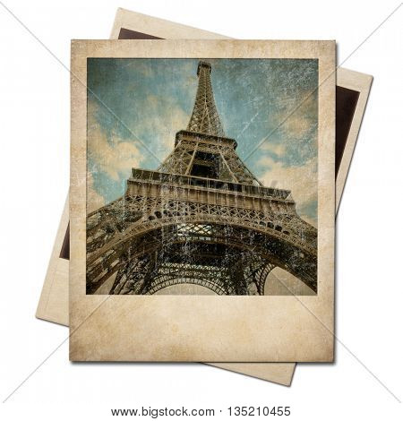 Vintage polaroid-style Eiffel tower instant photo