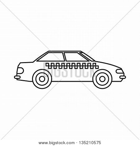 Taxi icon in outline style isolated on white background