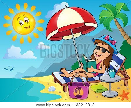 Girl on sunlounger image 2 - eps10 vector illustration.