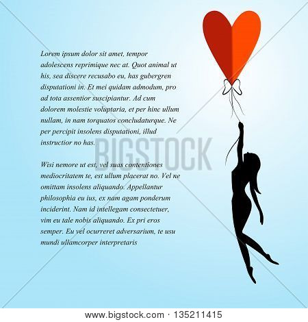 romantic background for text with girl and balloon in the form of heart
