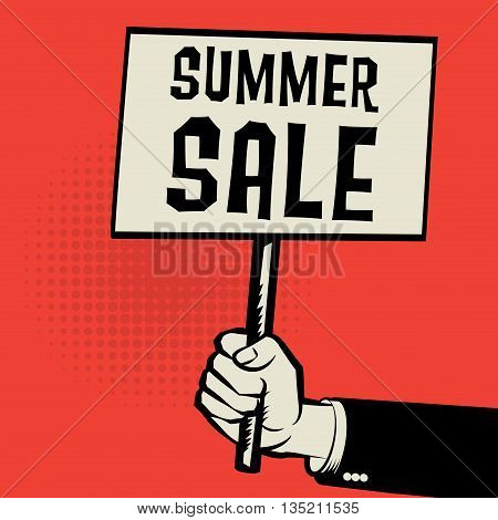 Poster in hand business concept with text Summer Sale, vector illustration