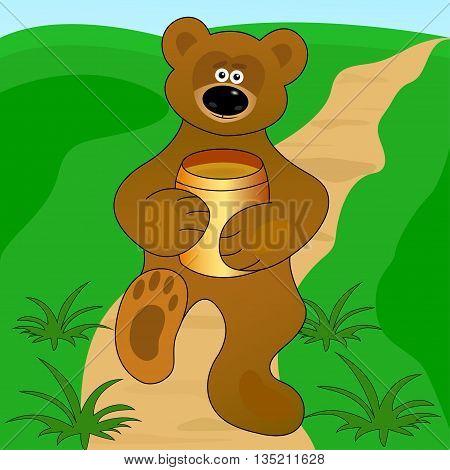 a little bear with the honey keg