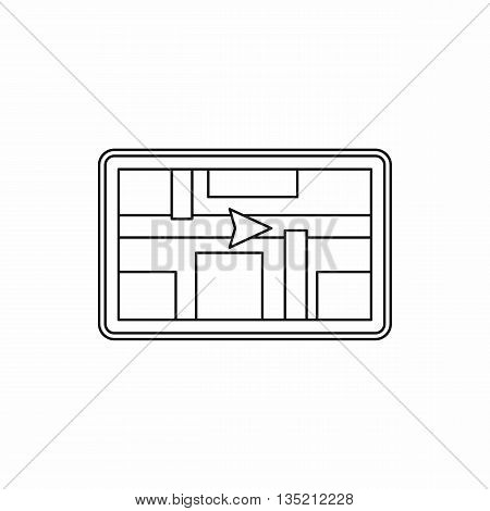 GPS navigation icon in outline style isolated on white background