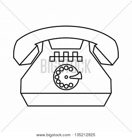 Taxi phone icon in outline style isolated on white background
