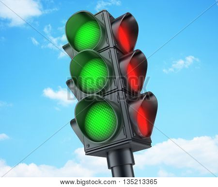 Abstract Traffic lights green (done in 3d rendering)