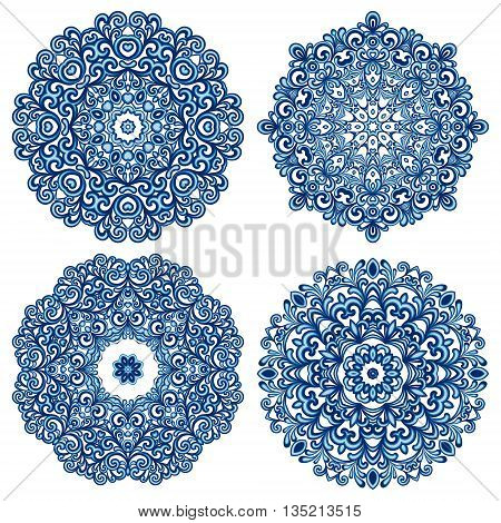 Set of mandalas in gzhel style. Orient traditional ornaments. Vector illustration.