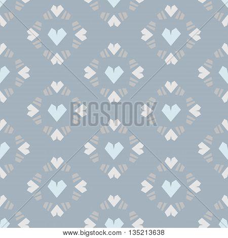 Seamless vector pattern heart tile on blue background