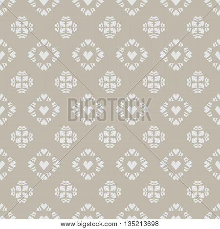 Seamless vector pattern heart tile on khaki background