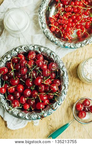 Fresh Red Currant On Wooden Table, Bucket With Red Currant Berri