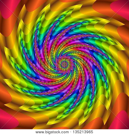 Rainbow colored fractal spiral. Colorful digitally generated glossy 3D swirl.