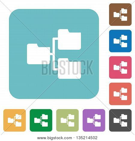 Flat shared folders icons on rounded square color backgrounds.