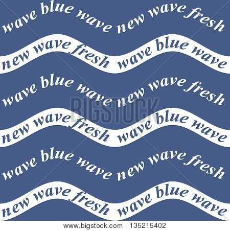 Vector seamless pattern. Abstract background with words in the form of waves.