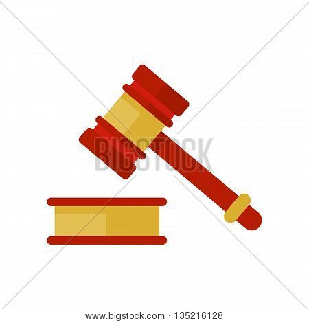 Hammer law icon. Judge hammer. Gold and wood gavel icon. Flat hammer vector isolated. Hammer in judgment. Judge gavel. Symbol of law, legal, court
