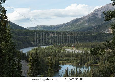 Alaska's Horseshoe Lake, Nenana River, and surrounding mountains