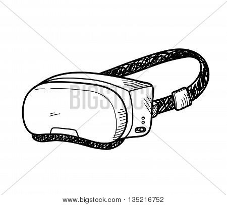 VR Doodle, a hand drawn vector doodle illustration of a Virtual Reality system.