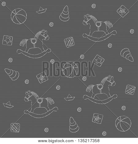 Seamless pattern vector , children's toys painted with chalk,  pattern fills, background of web page, surface textures