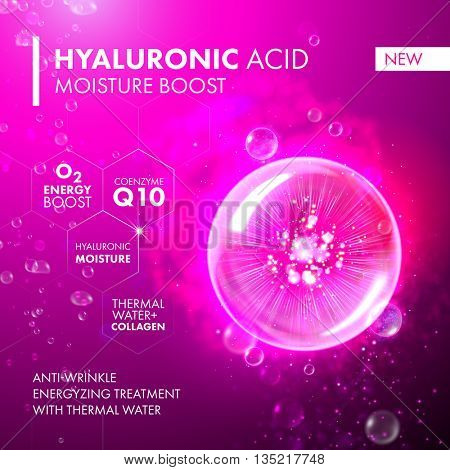 Hyaluronic acid energy boost moisturizing collagen design. Coenzyme Q10 illustration. Oxygen bubble for skin care concept.