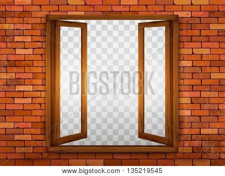 Wooden window on the windowsill. Vector.