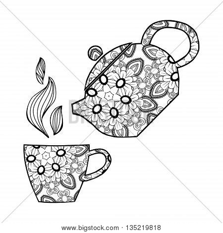 Hand drawn Vector illustration.Teapot and cup. Zentangle tea for the adult antistress coloring book on white background.