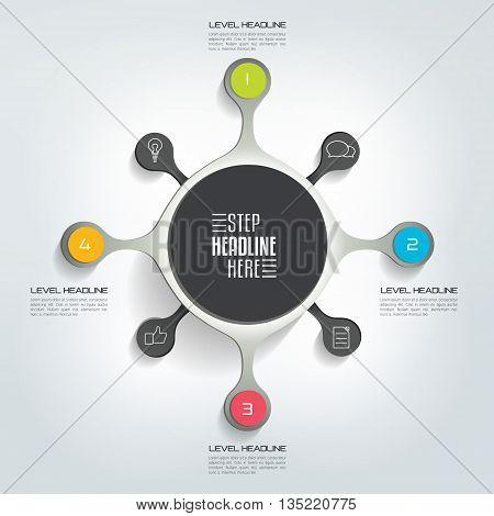 Circle infographic template. Round net diagram, graph, presentation, chart. Connected concept bubbles, options, steps, parts, text fields, processes.
