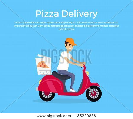 Pizza delivery concept banner design flat. Young man courier in a cap on a fast boat delivers hot pizza. Delivery food from restaurant, fast lunch pizzeria service business, vector illustration