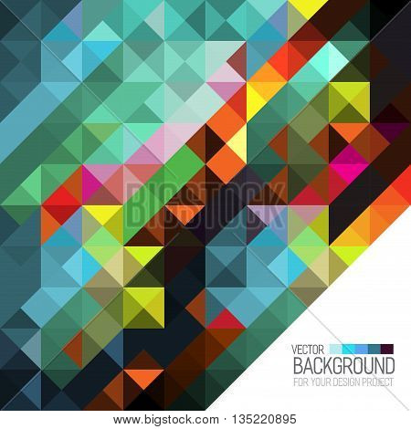 Stylish colorful background with colorful triangles and line. Abstract background texture with geometrical shapes. Abstract background for apps, visit card, book cover, backdrops,  cover.