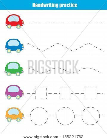Handwriting practice sheet. Educational children game. Writing training transportation theme. Connect the dots restore the dashed line vector illustration printable worksheet
