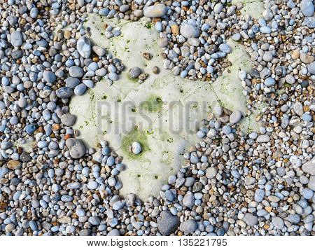 Pebbles on a beach in outflow as background