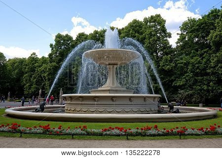 Warsaw, Poland - June 11:Fountain in the Saxon Garden in Warsaw on June 11, 2016 in Poland