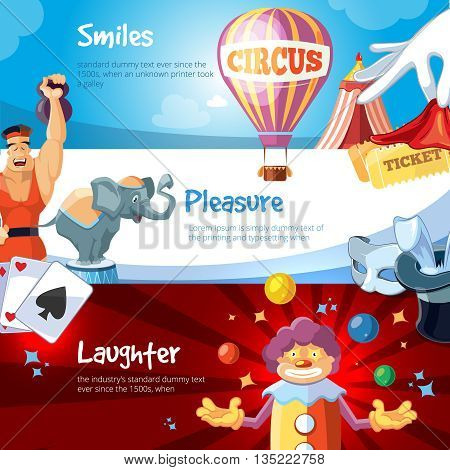 web banners with illustration of circus show. Clown, athlete, elephant and other circus characters. Poster with place for your text.