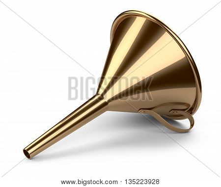Laboratory golden funnel. 3D illustration isolated on white background.