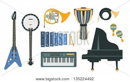 Music Instruments Realistic Simple Vector Designed Icon Set On White Background