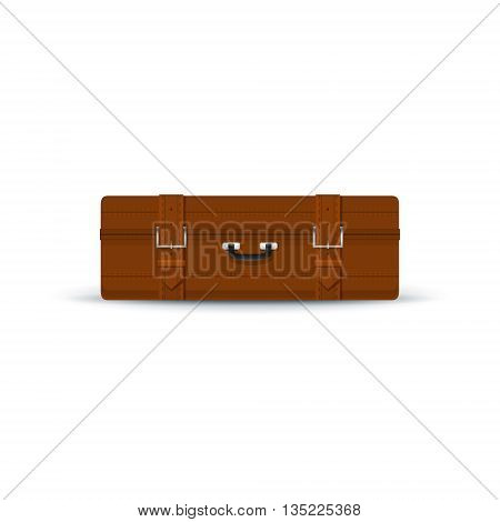 Retro Brown Suitcase Isolated on White Background, a Luggage Bag for Traveling, Vintage Travel Bag, Vector Illustration